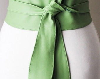 SALE Bright Green Leather Obi Belt tulip tie | Plus Size Belt | Waist Corset Belt | Leather wrap Belt | waist cincher belt