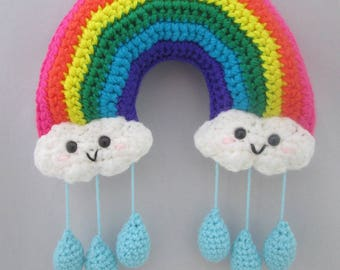 Happy Little Rainbow Handmade Crocheted Baby Mobile/ Wall Hanging/Kids Bedroom Decor