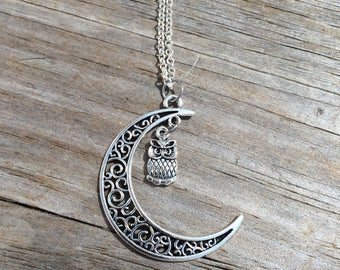 Moon Owl necklace, Owl Necklace, Moon necklace, Boho Necklace, Indie Necklace, Tiny Owl, Gifts for her