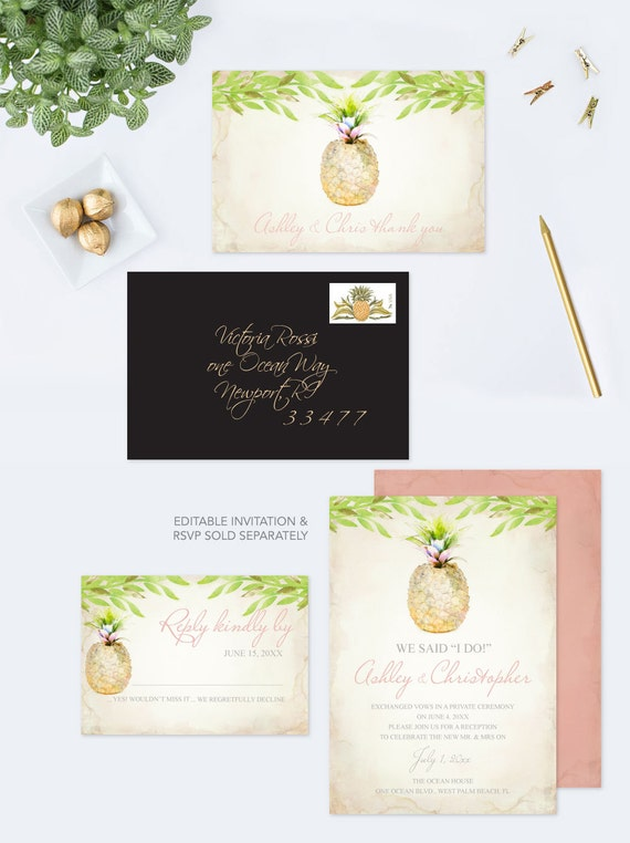 Printable thank you card for wedding customize watercolor pineapple il570xn m4hsunfo