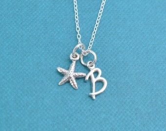 """Little girl's starfish necklace in sterling on 14"""" sterling silver cable chain and personalized with a sterling silver initial charm"""