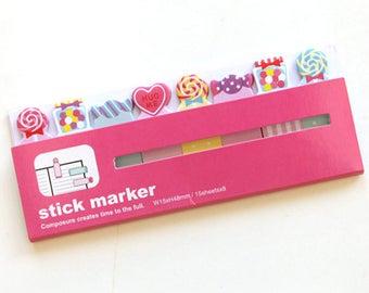 Candy Sticky Note Set (15 Sheets x 8 pcs) Korean Stationery Funny Sticky Notes Post It Note