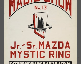 1960s Screenprint Annual No. 13 Magic Show Mazda Mystic Ring Magic Show Poster Genuine Illusionist 14 x 22