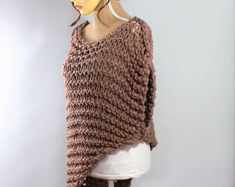 Summer Sweater Loose Knit Sweater Oversized Sweater Asymetrical Top Sleeveless Top Festival Top Burning Man Clothing Boho Slash Neck