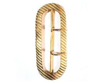 Boucle de Ceinture Ovale, Gros Ceinturon Doré, Ornement Strié Rectangulaire Accessoire de Mode