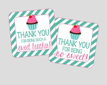 Cupcake Tags for Teacher's Gift of Thank You Gift. Teacher's Appreciation Cupcake Tags, Thank You Cupcake Tags. Instant Digital Download