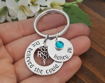 Nurse Gifts | She Believed She Could, So She Did Key Chain RN Keychain | Personalized Nurse Keychain | Gifts For Nurses | Nursing Graduation