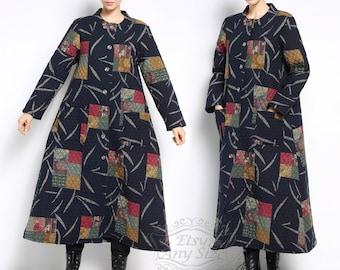 Anysize Retro warm WINTER padded coat linen&cotton coat with Thick Cotton Layer plus size coat plus size clothing Winter clothing F112A