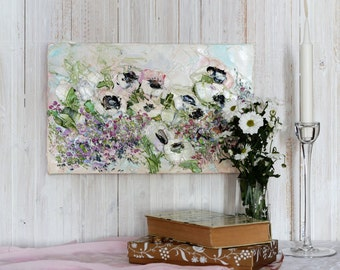 Miniature Oil Painting Flower Impressionism French Riviera Landscape Exclusive Decor Bedroom Boudoir Table Palette Knife Impasto Textured Ar