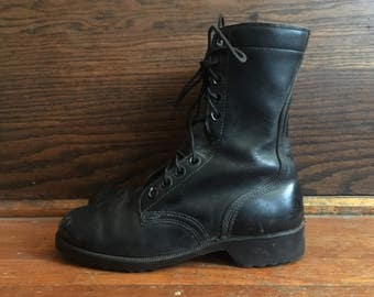 Vintage Mens 1970s ARMY Black Leather 1977 Jungle Militsary Work COMBAT BOOTS Size 6 Hipster Goth