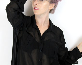 Sheer Black Button-up
