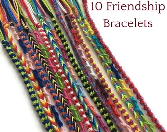 10 String Bracelets, Friendship Bracelets, Thread Bracelets, Colorful bracelets, Boho Bracelet, Bulk Bracelets, Friendship Bracelet Set