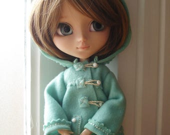 "Blue-green ""aqua"" dufflecoat for Pullip dolls"