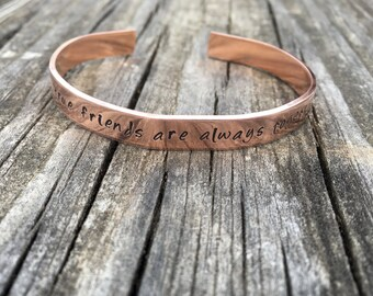 Long Distance Friendship Best Friends Personalized Stamped Bracelet, Anne of Green Gables Quote, Copper or Aluminum