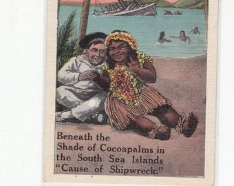 1920s Cause Of Shipwreck Humorous Territory Hawaii Hawaiian Islands Unused Postcard