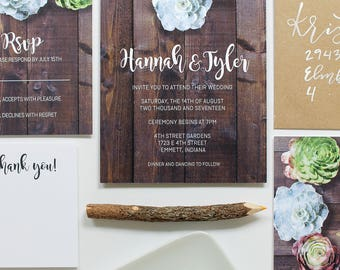 Wedding Invitation Suite / Rustic / Wood / Succulents / Printable Wedding Invitation / Save the Date / Custom Printable Template