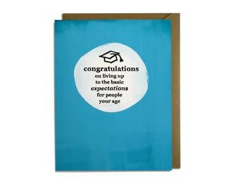 Funny Graduation Card - Sarcastic, Congrats, Congratulations, High School, Grad