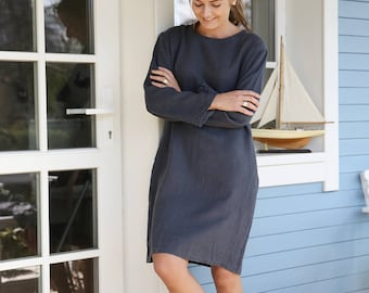 Comfy, casual linen working tunica/dress with side pockets in Charcoal Grey. Women's dress. Washed, soft linen tunica dress.