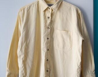 SALE Vintage yellow corduroy shirt, women's size M