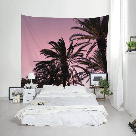 Pink Tapestry, Tropical Decoration, Tropical Sunset, Palm Trees, Maritime Photo, Wall Decorating
