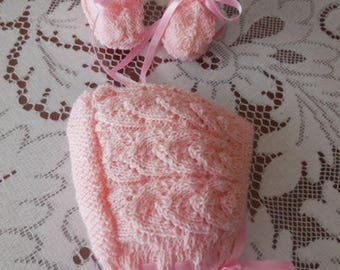 Together pretty bonnet and hand knitted slippers - point openwork