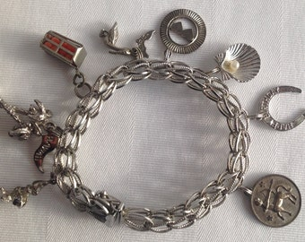 Vintage Sterling Silver Charm Bracelet with 8 Charms