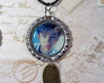 Chris Colfer Necklace w/ Love Charm FREE SHIPPING (Black Cord Included) Gay Interest