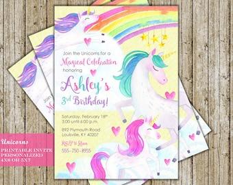 Unicorn Invitation for Unicorn Birthday Party Rainbow Unicorn Unicorn Birthday Invitations Digital Printable Personalized