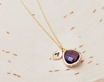 February necklace, Amethyst necklace,  Birthstone Initial custom necklace, gold leaf stone jewelry, birthstone necklace