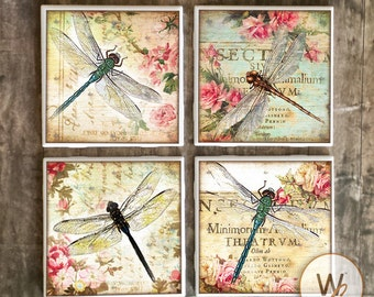 Dragonfly Coasters,  Shabby Chic Ceramic Tile Coasters, Handmade Vintage Style Hot and Cold Bar Coasters, Gift, Floral, Made To Order