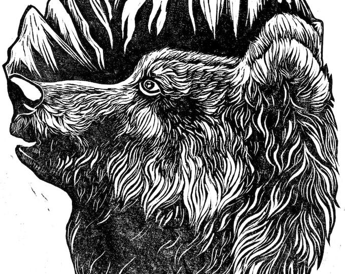 Bear Mountain Original Print Illustration Linocut - A4
