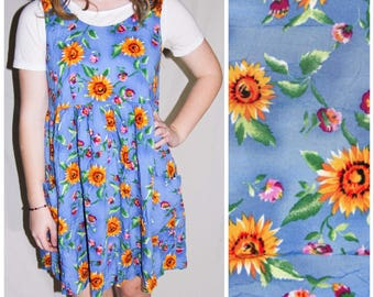 Vintage Blue Sunflower Sundress Flowers Floral Babydoll Smock Dress