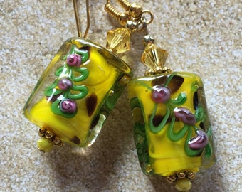 Yellow and Pink Earrings, Flower Earrings, Lampwork Floral Earrings, Glass Earrings, Lampwork Jewelry, Earrings, Jewelry