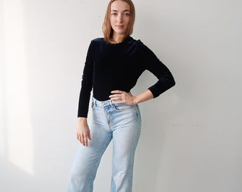 SALE! Midnight Blue Velvet Long Sleeve Top