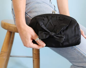 Black Clutch with Bow Detail