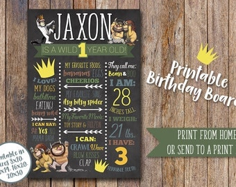 Where the Wild Things are Birthday Board, First Birthday Board, Wild One, 1