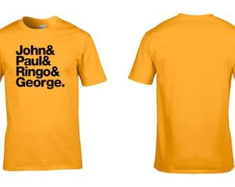 The Beatles Tribute (Names) Mens Cotton T-Shirt Retro John Lennon Paul McCartney George Harrison Ringo Starr NEW