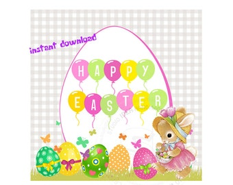 """INSTAND DOWNLOAD-Happy Easter Bunny & Eggs Printable 2.5"""" Tags- Easter D.I.Y 2.5"""" tags-Digital file"""