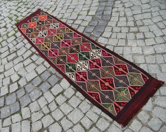 Perfect  Anatolian   Turkish   Adana Tourous  Mauntain   Nomadic  Embroidery  Jajem   Kilim  Runner 22,4'' X 82,6'' inches