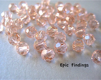 Antique Pink 3mm Austrian Crystal Faceted Round Beads, 3mm Beads, Spacer Beads Jewelry Design, Craft Supply, Epic Findings
