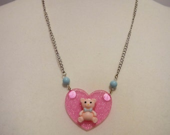 "Paillette transparent ""Pooh"" pink heart necklace"