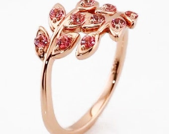 Stunning Solid 14K Rose Gold Baby Genuine Pink Topaz Leaf Design Ring US SZ 7, 3.42 grams