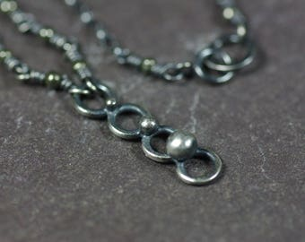 Silver Drop Necklace, Sterling Silver Chain Necklace Blackened Silver Necklace Hand Wrapped Drop Necklace Oxidised Silver Pendant Necklace
