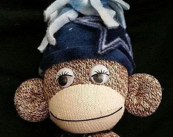 Dallas Cowboys Stuff Sock Monkey, Dallas Cowboys Redford Red Sock Monkey, Dallas Cowboys Stuff Monkey w/ Hat & Tie