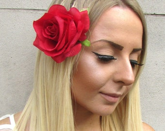 1950s Large Red Rose Flower Hair Clip Rockabilly Bridesmaid Floral Wedding 1571