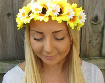 Yellow White Sunflower Daisy Flower Garland Headband Festival Hair Crown 1926