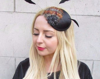 Black Brown Statement Feather Fascinator Headband Vintage Hat Races 1940s 2941