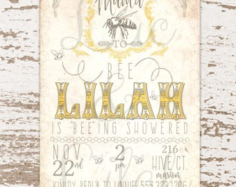 Mama To Bee / Mother To Bee Bumblebee Baby Shower Invitation