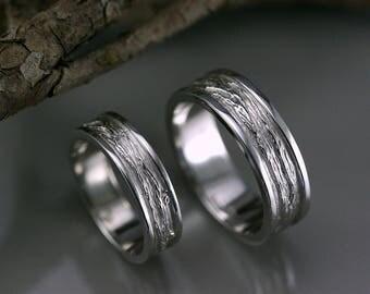 White gold wedding ring set, white gold Bark wedding ring, unique engagement ring, branch Texture wedding ring, handmade wedding ring