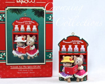 Enesco Mice Friends are the Spice of Life Treasury of Christmas Ornament 5th in Best Friends Series Spice Rack Karen Hahn Vintage #5